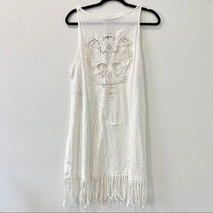 Women's white fringed muchachos dress